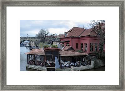Red Restaurant On Vltava River Framed Print by Marek Boguszak