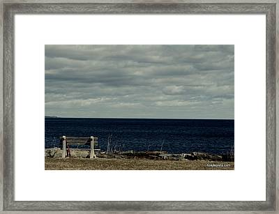 Framed Print featuring the photograph Red Ribbon At The Sea by Lois Lepisto