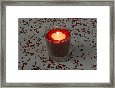 Red Rice Candle Framed Print by Mohammed Mostafa
