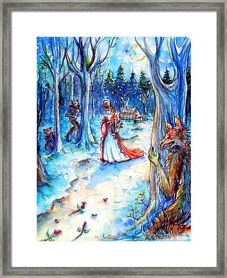 Framed Print featuring the painting Red Riding Hood And Werewolves by Heather Calderon