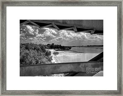 Red River Bridge View Framed Print by Fred Lassmann