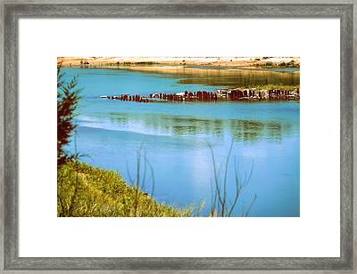 Framed Print featuring the photograph Red River Crossing Old Bridge by Diana Mary Sharpton