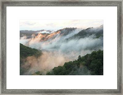 Red River Gorge Kentucky Fog In Mountains At Sunset After A Storm 2 Framed Print
