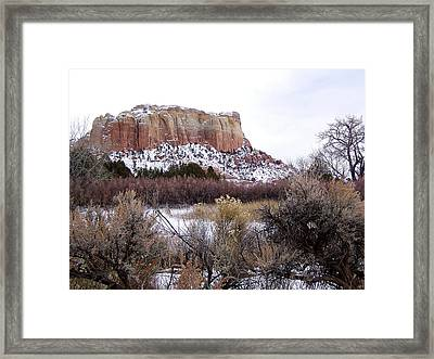 Red Rock Butte In Snow Framed Print