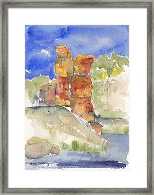 Framed Print featuring the painting Red Rock  Canyon by Anne Duke