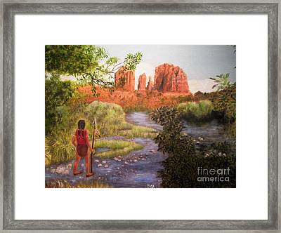 Red Rock Crossing Framed Print by Olga Silverman