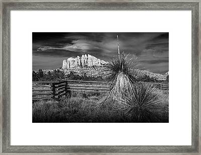 Framed Print featuring the photograph Red Rock Formation In Sedona Arizona In Black And White by Randall Nyhof