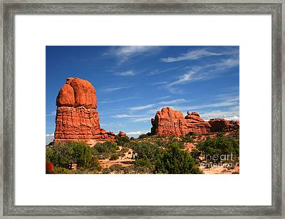 Red Rock Formations, Located In Arches National Park In Moab, Ut Framed Print