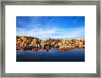 Red Rock Reflection On Arizona Lake Framed Print