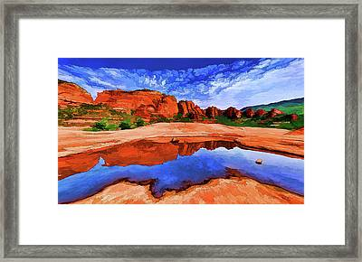 Red Rock Reflections Framed Print by ABeautifulSky Photography