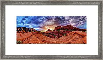 Red Rock Storm Framed Print by ABeautifulSky Photography