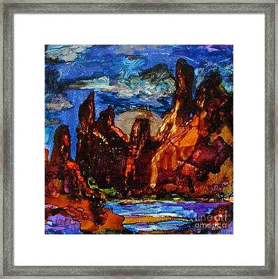 Red Rocks And Silver Moon Framed Print by Jeanette Skeem
