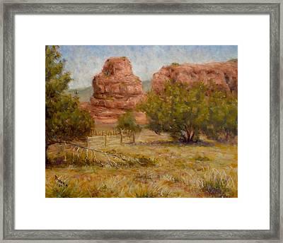 Red Rocks Below Jemez Springs Framed Print by Donelli  DiMaria