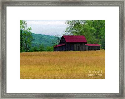 Red Roof Barn Framed Print