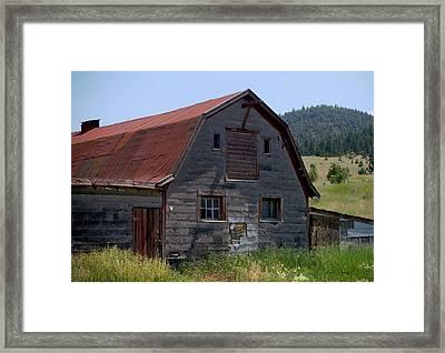 Red Roof Barn Framed Print by Kae Cheatham