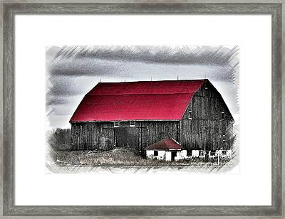 Red Roof Barn Framed Print by Miss Dawn