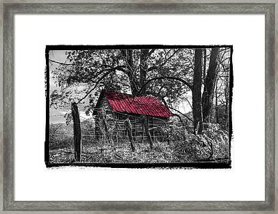 Red Roof Black And White Framed Print by Debra and Dave Vanderlaan