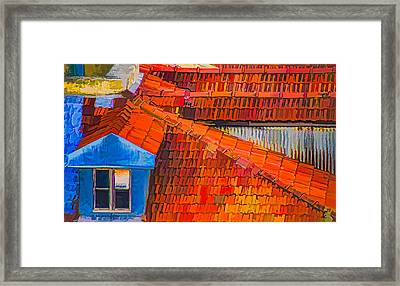 Red Roof Blue Window Framed Print by Julie Palencia