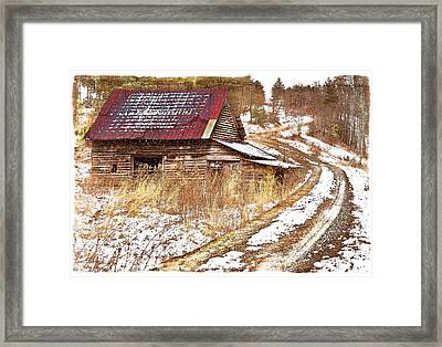 Red Roof In The Snow Bordered Framed Print