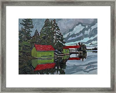 Red Roofs Canoe Lake Framed Print