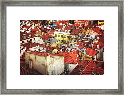 Red Rooftops Of Old Alfama Lisbon  Framed Print