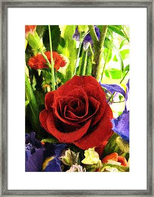 Red Rose And Flowers Framed Print