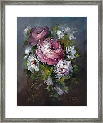 Red Rose And White Peony Framed Print by David Jansen
