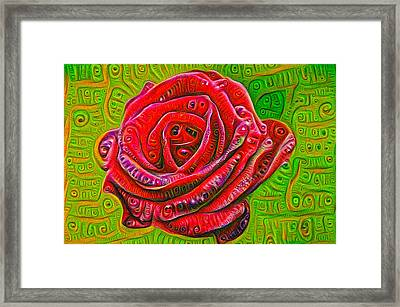 Red Rose Deep Dream Surreal Picture Framed Print by Matthias Hauser