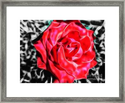 Red Rose Fractal Framed Print