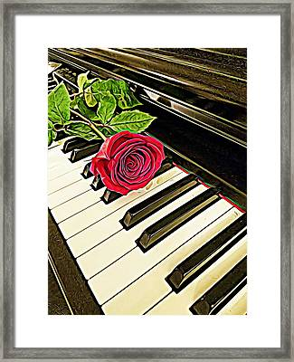 Red Rose On A Piano  Framed Print
