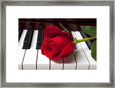 Red Rose On Piano Keys Framed Print by Garry Gay