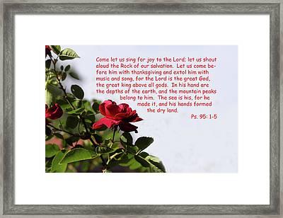 Red Rose Ps.95 V 1-5 Framed Print by Linda Phelps