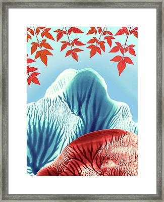 Red Rose Quarts And Serenity Blue Landscape 2 Framed Print by Amy Vangsgard