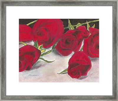 Framed Print featuring the drawing Red Rose Redux by Arlene Crafton