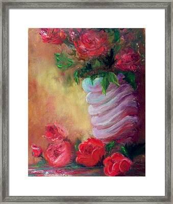 Red Roses For A Blue Vase Framed Print by Lynda McDonald