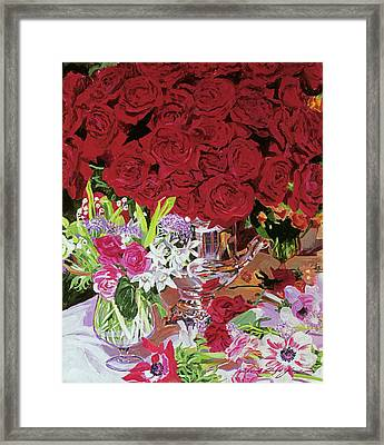 Red Roses In Silver Framed Print by David Lloyd Glover
