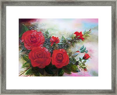 Framed Print featuring the painting Red Roses by Joni McPherson