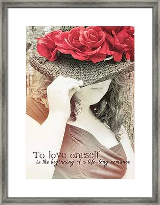 Red Roses Quote Framed Print by JAMART Photography