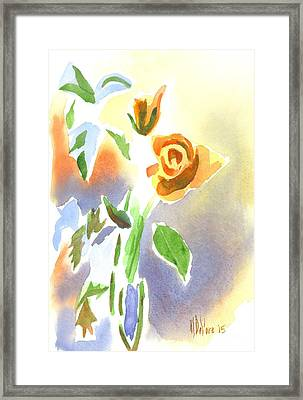 Framed Print featuring the painting Red Roses With Holly In A Vase by Kip DeVore