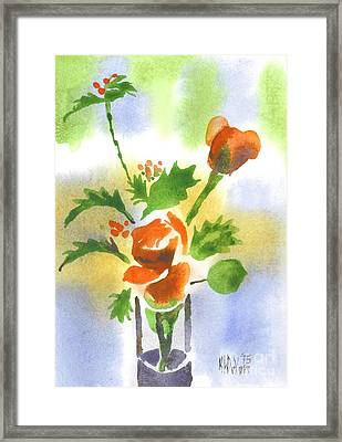 Framed Print featuring the painting Red Roses With Holly by Kip DeVore
