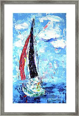 Red Sail Framed Print by Lynda Cookson