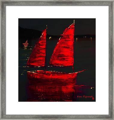 Red Sail Night Crop Framed Print by Ken Figurski