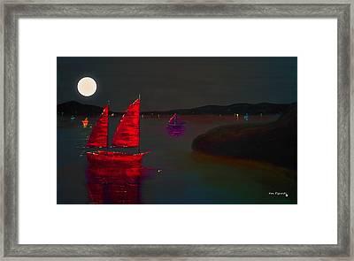 Red Sail Night Framed Print by Ken Figurski
