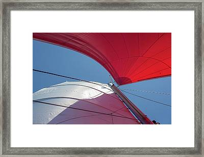 Framed Print featuring the photograph Red Sail On A Catamaran 3 by Clare Bambers