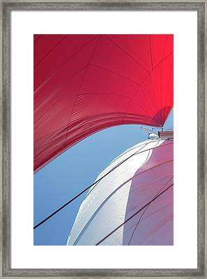 Framed Print featuring the photograph Red Sail On A Catamaran 4 by Clare Bambers