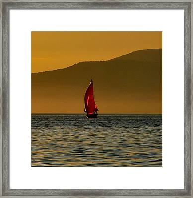 Red Sailboat Framed Print