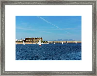 Red Sailboat In The Desert Framed Print