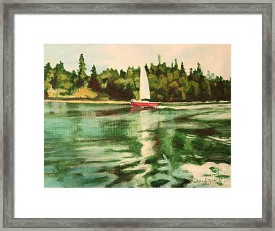 Red Sailboat North End Of Harstene Island Framed Print
