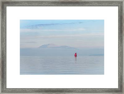 Red Sailboat On Lake Framed Print
