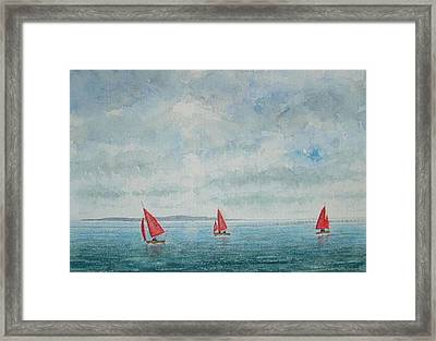 Red Sails And Hilbre Island Framed Print by Peter Farrow